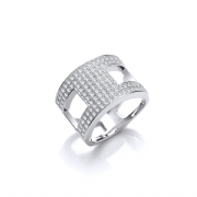 Sterling silver Cubic Zirconia open band ring